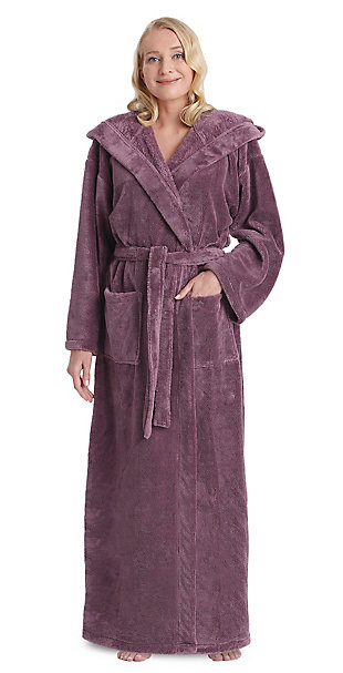 Arus Women's Hooded Classic Turkish Cotton Bathrobe (L), Purple, large