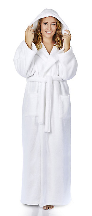 Arus Women's Hooded Classic Turkish Cotton Bathrobe (S), White, rollover