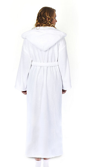 Arus Women's Hooded Classic Turkish Cotton Bathrobe (S), White, large