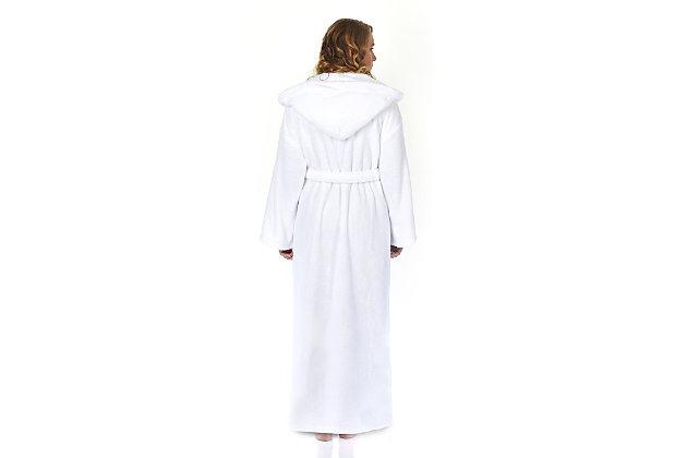Arus Women's Hooded Classic Turkish Cotton Bathrobe (S), White, large