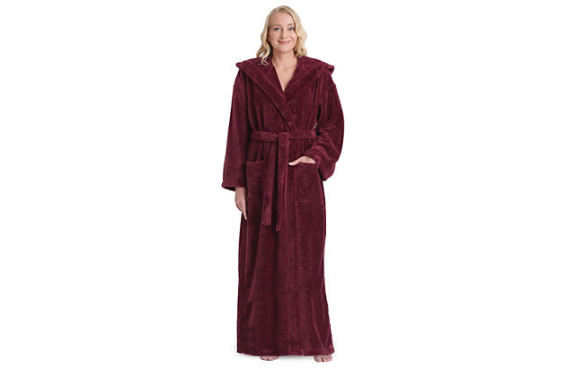 Arus Women's Hooded Classic Turkish Cotton Bathrobe (S), Red, large