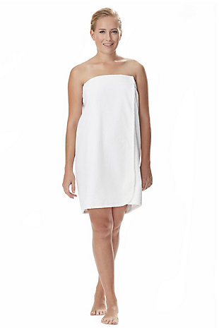 Arus Women's Organic Certified Terry Cotton Shower Bath Wrap (S/M), White, large
