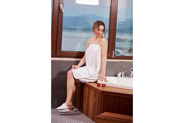 Arus Women's Organic Certified Terry Cotton Shower Bath Wrap (S/M), White, large