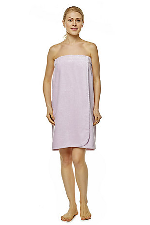Arus Women's Organic Certified Terry Cotton Shower Bath Wrap (L/XL), Purple, rollover