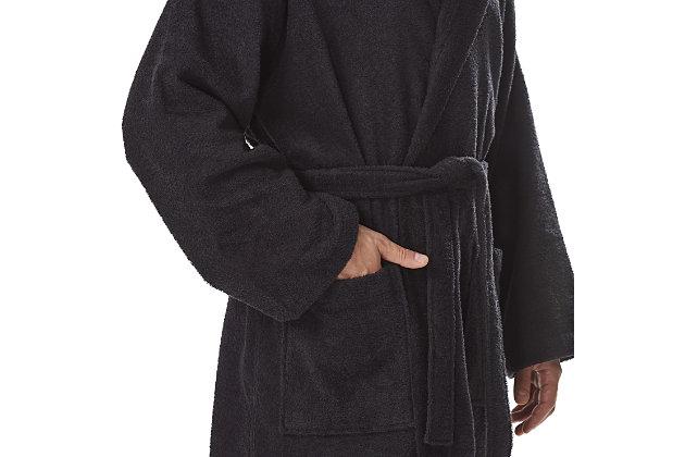 Arus Men's Hooded Classic Turkish Cotton Bathrobe (S/M), Black, large