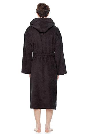Arus Men's Hooded Classic Turkish Cotton Bathrobe (L/XL), Black/Gray, large
