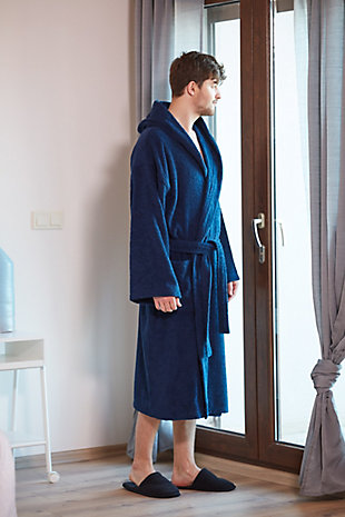 Arus Men's Hooded Classic Turkish Cotton Bathrobe (S/M), Blue, rollover