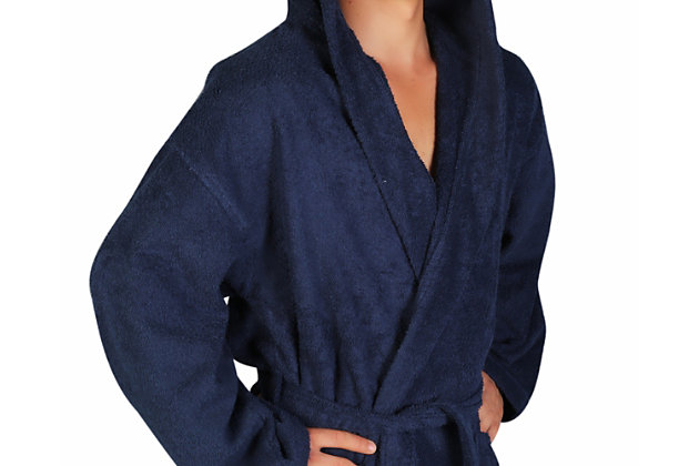 Arus Men's Hooded Classic Turkish Cotton Bathrobe (S/M), Blue, large