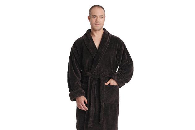 Arus Men's Full Length Shawl Collar Turkish Bathrobe (S/M), Black/Gray, large