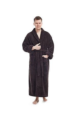 Arus Men's Full Length Shawl Collar Turkish Bathrobe (S/M), Black/Gray, large