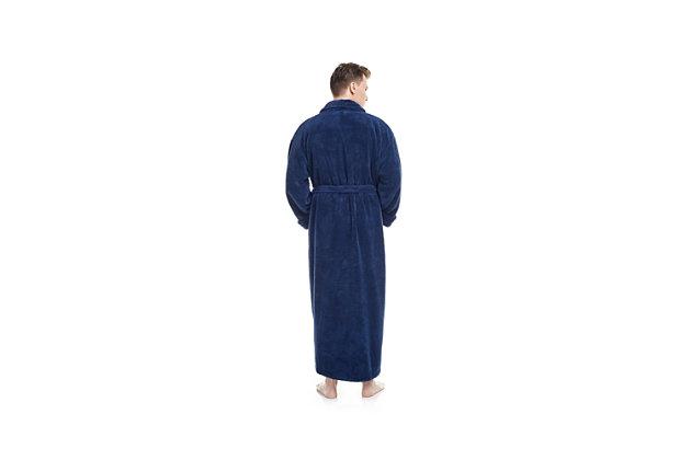 Arus Men's Full Length Shawl Collar Turkish Bathrobe (S/M), Blue, large
