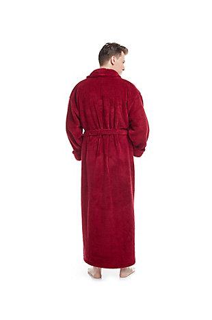 Arus Men's Full Length Shawl Collar Turkish Bathrobe (S/M), Red, large