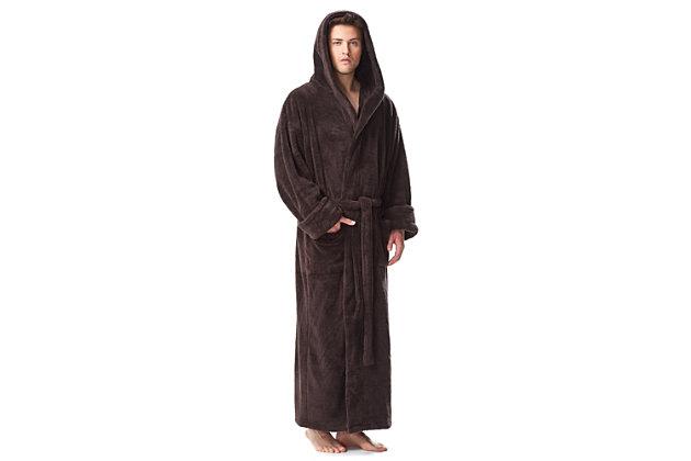 Arus Men's Full Length Hooded Turkish Bathrobe (S/M), Black/Gray, large
