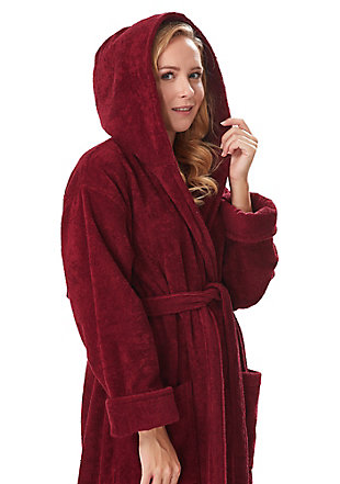 Arus Women's Full Length Soft Twist Cotton Hooded Turkish Bathrobe (L), , rollover