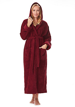 Arus Women's Full Length Soft Twist Cotton Hooded Turkish Bathrobe (L), , large