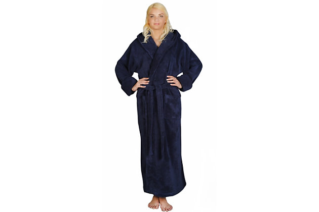 Arus Women's Full Length Soft Twist Cotton Hooded Turkish Bathrobe (M), Blue, large