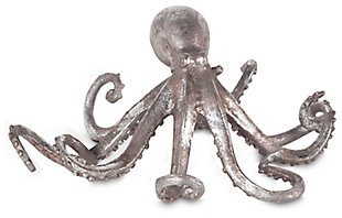 Home Accents Octopus Sculpture, Silver Finish, large