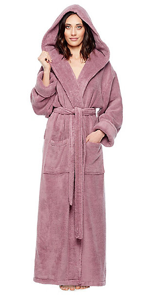 Arus Women's Full Length Soft Twist Cotton Hooded Turkish Bathrobe (S), Purple, rollover