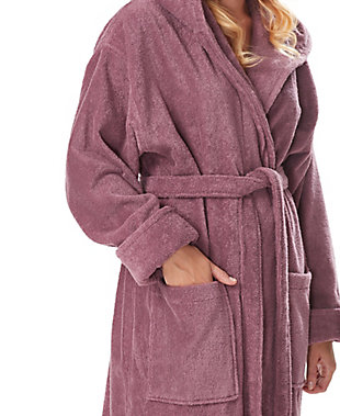 Arus Women's Full Length Soft Twist Cotton Hooded Turkish Bathrobe (S), Purple, large