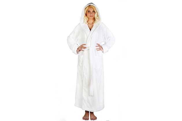 Arus Women's Full Length Soft Twist Cotton Hooded Turkish Bathrobe (S), White, large