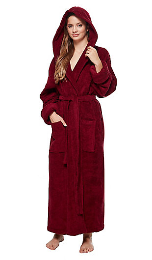 Arus Women's Organic Certified Ankle Length Hooded Terry Cotton Turkish Bathrobe (S), Red, rollover