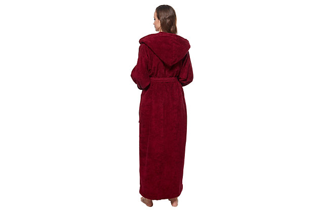 Arus Women's Organic Certified Ankle Length Hooded Terry Cotton Turkish Bathrobe (S), Red, large