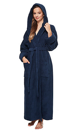 Arus Women's Organic Certified Ankle Length Hooded Terry Cotton Turkish Bathrobe (L), Blue, large