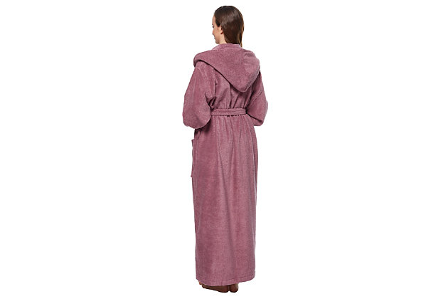 Arus Women's Organic Certified Ankle Length Hooded Terry Cotton Turkish Bathrobe (M), Purple, large