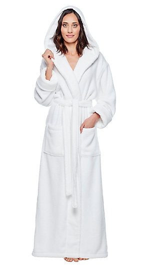 Arus Women's Organic Certified Ankle Length Hooded Terry Cotton Turkish Bathrobe (XL), White, large