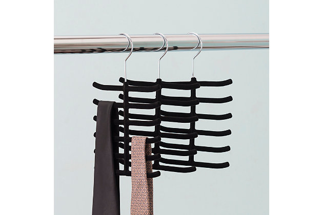 Contemporary Six Tier Non-Slip Velvet Tie Hanger, , large