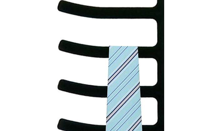 Contemporary Six Tier Non-Slip Velvet Tie Hanger, , large