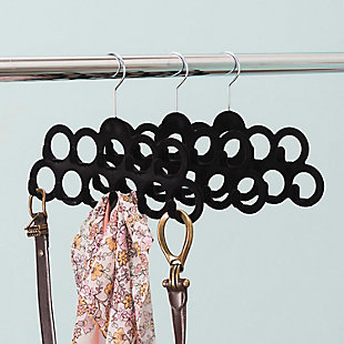 Contemporary Slip-Proof Snag-Free Ten Loop Velvet Scarf Hanger, , rollover