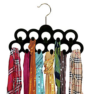 Contemporary Slip-Proof Snag-Free Ten Loop Velvet Scarf Hanger, , large