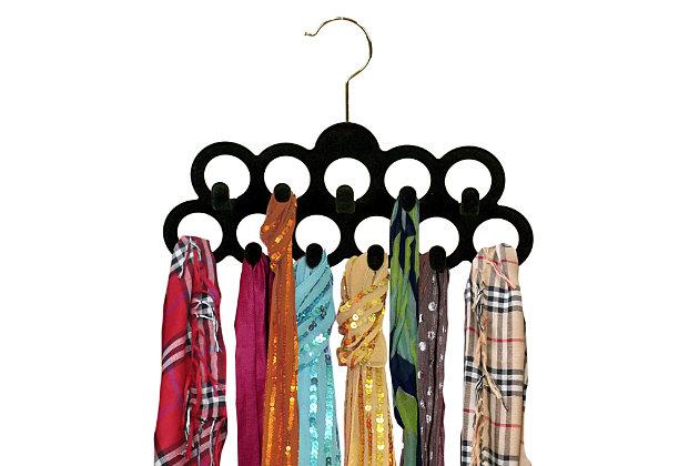 Contemporary Slip-Proof Snag-Free Ten Loop Velvet Scarf Hanger, , large