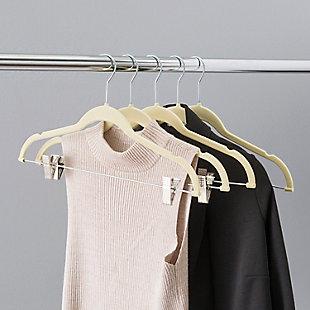 Sunbeam Velvet Hanger with Clips (Set of 5), Ivory, large