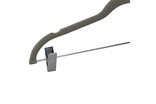 Contemporary Velvet Hanger with Clips (Set of 5), Gray, large