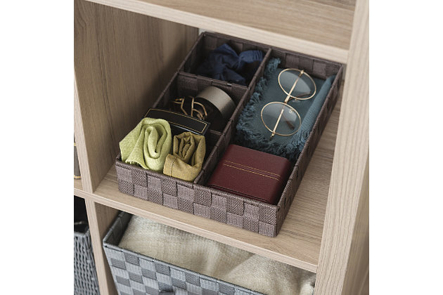 Contemporary Four Compartment Woven organizer, Brown, large