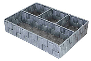 Contemporary Four Compartment Woven organizer, Gray, large