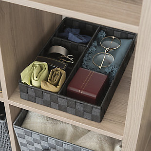 Contemporary Four Compartment Woven organizer, Black, rollover