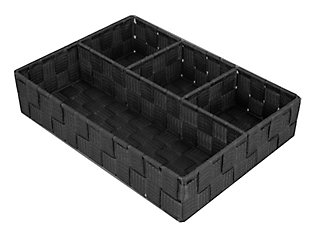 Contemporary Four Compartment Woven organizer, Black, large