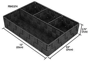 Contemporary Four Compartment Woven organizer, Black, large