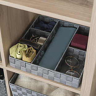 Contemporary Six Compartment Woven Organizer, Gray, rollover
