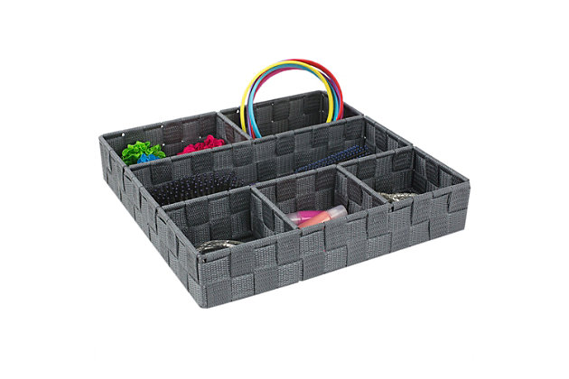 Contemporary Six Compartment Woven Organizer, Gray, large