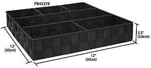 Contemporary Six Compartment Woven Organizer, Black, large