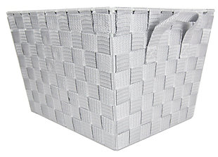 Contemporary Medium Woven Bin, Cool Gray, rollover