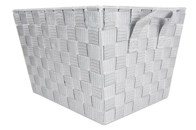 Contemporary Medium Woven Bin, Cool Gray, large