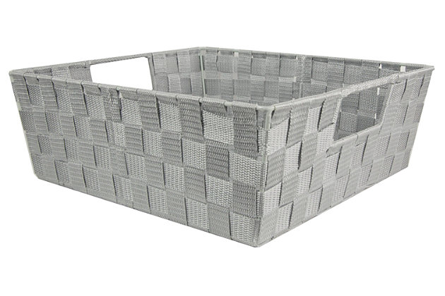 Contemporary Large Woven Bin, Cool Gray, large