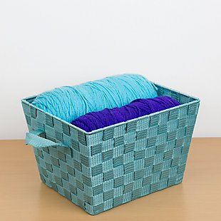 Contemporary Medium Woven Bin, Teal, large