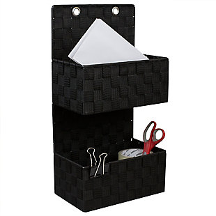 Contemporary Two Tier Hanging Woven Organizer, Black, large