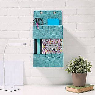 Contemporary Two Tier Hanging Woven Organizer, Turquoise, rollover